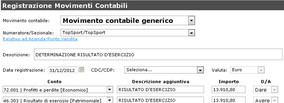 Giobby - registrazione movimenti contabili