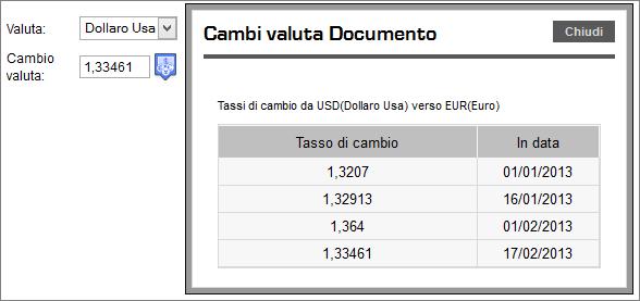 Impostazione della valute e del cambio all'interno dei documenti