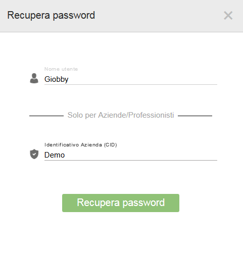 Procedura per reimpostare la password