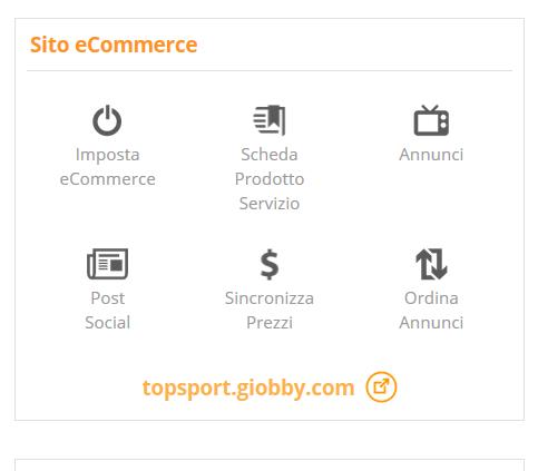Pannello di gestione eCommerce