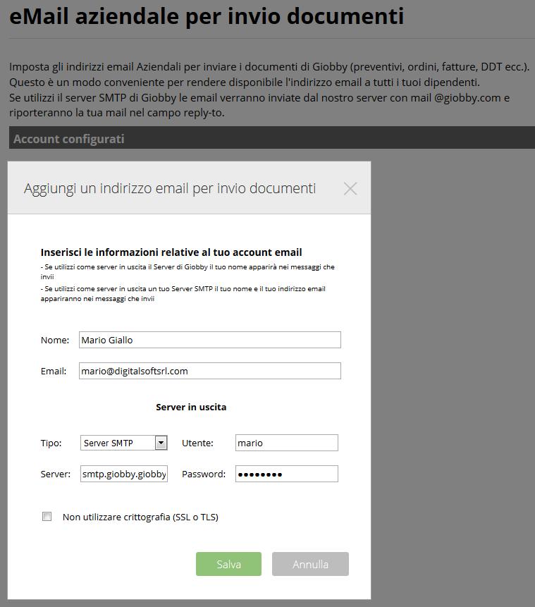 eMail aziendale per invio documenti