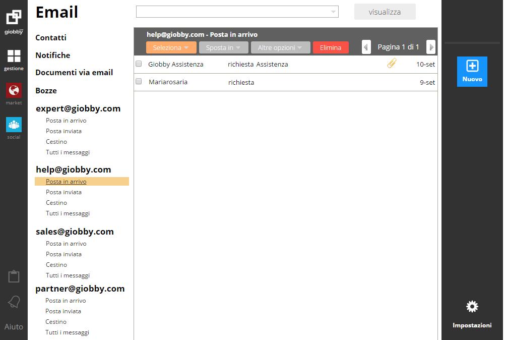 Gestione account di posta elettronica con la funzione Email